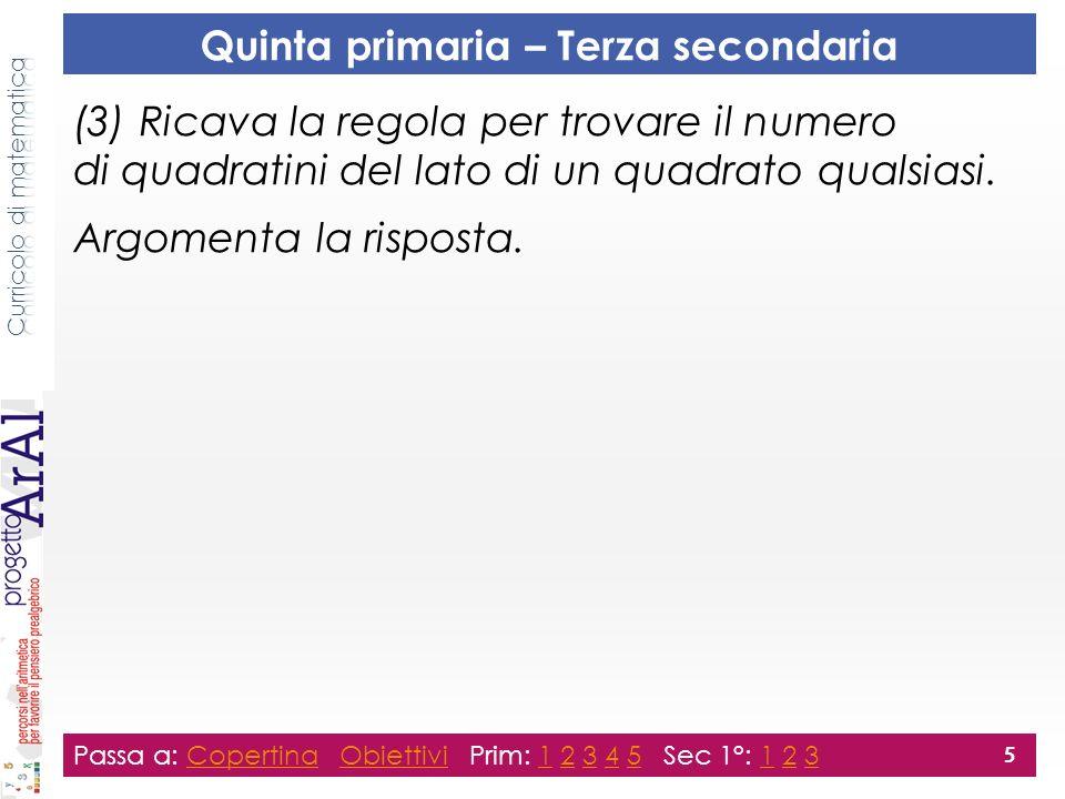 (3) Ricava la regola per trovare il numero di quadratini del lato di un quadrato qualsiasi.