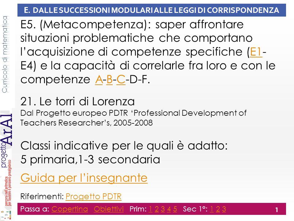 E. DALLE SUCCESSIONI MODULARI ALLE LEGGI DI CORRISPONDENZA E5. (Metacompetenza): saper affrontare situazioni problematiche che comportano lacquisizion