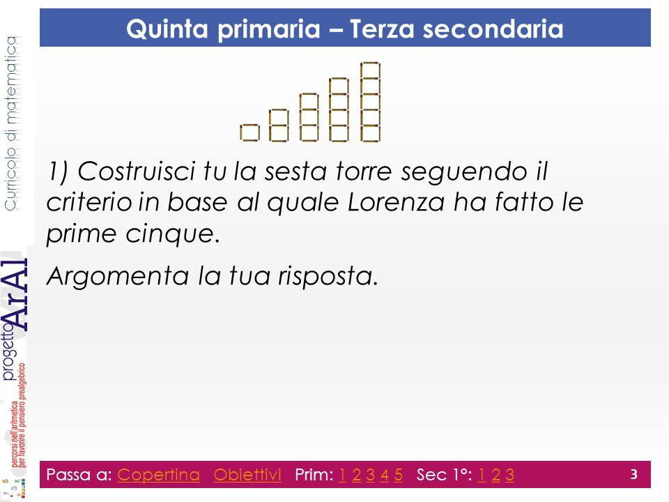 1) Costruisci tu la sesta torre seguendo il criterio in base al quale Lorenza ha fatto le prime cinque. Argomenta la tua risposta. Passa a: Copertina