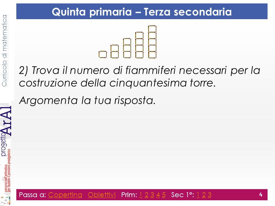 2) Trova il numero di fiammiferi necessari per la costruzione della cinquantesima torre. Argomenta la tua risposta. Passa a: Copertina Obiettivi Prim:
