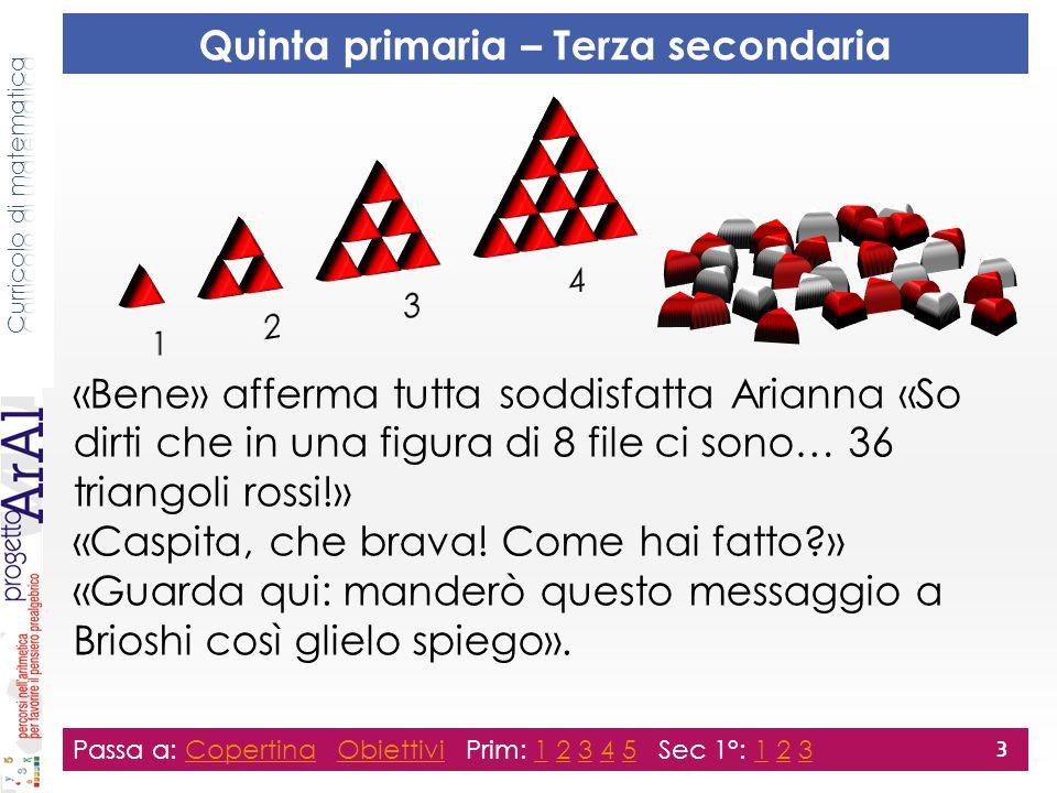 «Bene» afferma tutta soddisfatta Arianna «So dirti che in una figura di 8 file ci sono… 36 triangoli rossi!» «Caspita, che brava.