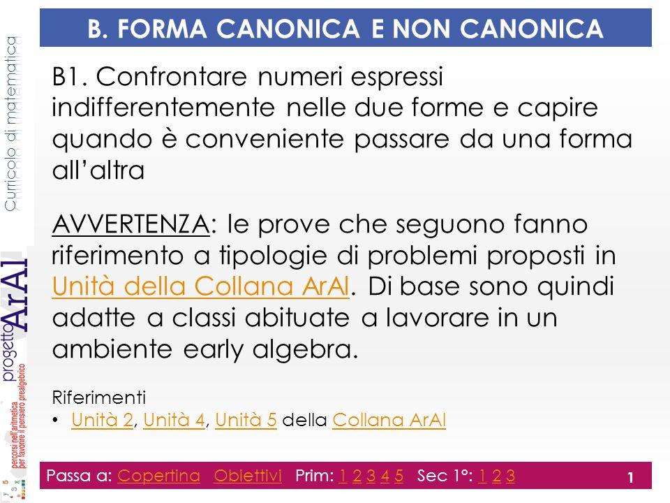 B.FORMA CANONICA E NON CANONICA B1.