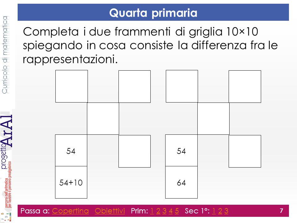 Quarta primaria Completa i due frammenti di griglia 10×10 spiegando in cosa consiste la differenza fra le rappresentazioni.
