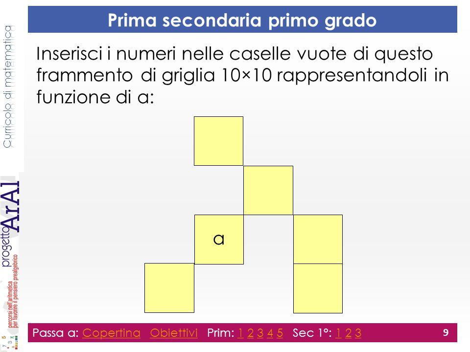 Prima secondaria primo grado Passa a: Copertina Obiettivi Prim: 1 2 3 4 5 Sec 1°: 1 2 3CopertinaObiettivi12345123 9 Inserisci i numeri nelle caselle vuote di questo frammento di griglia 10×10 rappresentandoli in funzione di a: a