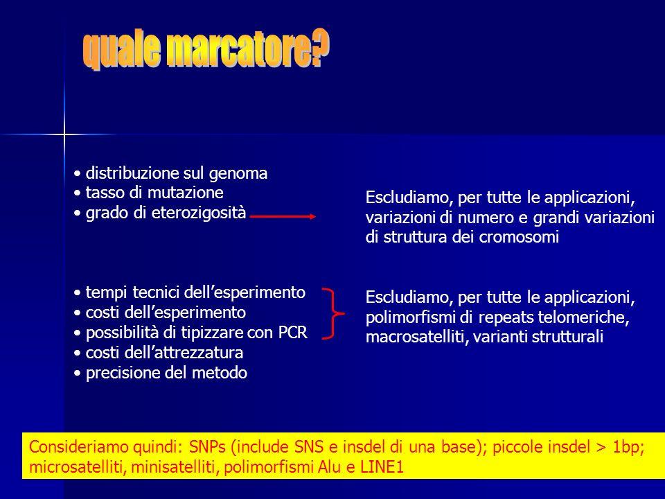 distribuzione nel genoma: fondamentale, omogeneamente distribuiti e comuni nel genoma: OK STRs e SNPs tasso di mutazione: poco rilevante grado di eterozigosità: fondamentale, il numero di meiosi informative è correlato al grado di eterozigosità del marcatore: OK STRs e parte degli SNPs (quelli con H elevata) tempi tecnici dellesperimento costi dellattrezzatura costi dellesperimento precisione del metodo possibilità di automazione su larga scala: OK SNPs