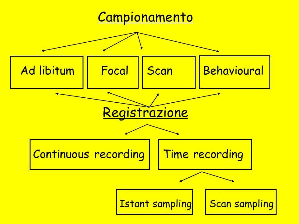 Campionamento Registrazione Ad libitum Focal Scan Behavioural Continuous recording Time recording Istant sampling Scan sampling