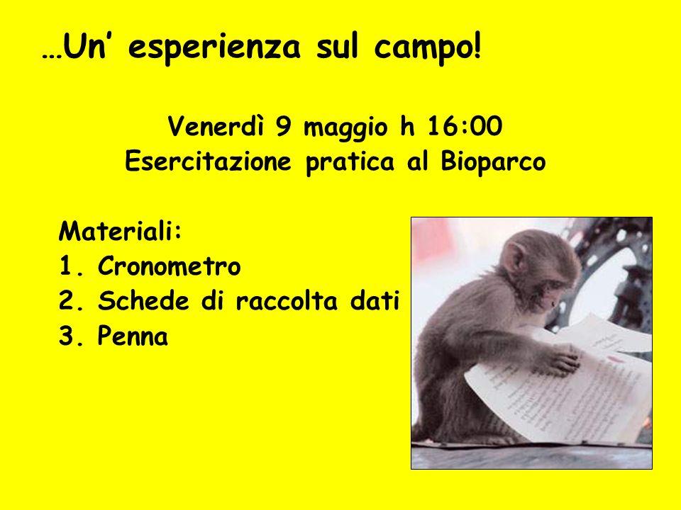 Venerdì 9 maggio h 16:00 Esercitazione pratica al Bioparco Materiali: 1.Cronometro 2.Schede di raccolta dati 3.Penna …Un esperienza sul campo!