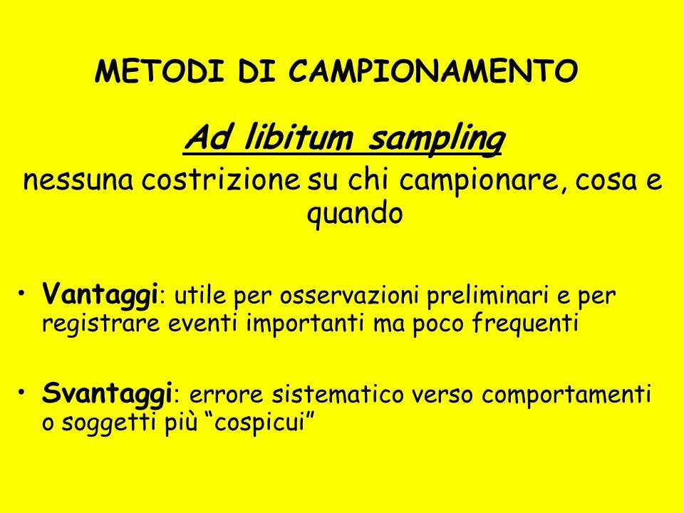 METODI DI CAMPIONAMENTO Ad libitum sampling nessuna costrizione su chi campionare, cosa e quando Vantaggi : utile per osservazioni preliminari e per r