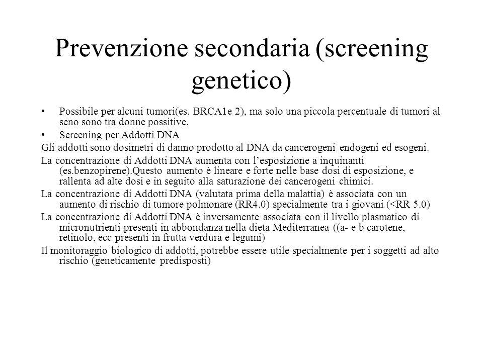 Prevenzione secondaria (screening genetico) Possibile per alcuni tumori(es. BRCA1e 2), ma solo una piccola percentuale di tumori al seno sono tra donn