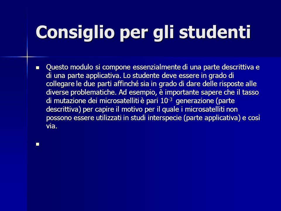 Consiglio per gli studenti Questo modulo si compone essenzialmente di una parte descrittiva e di una parte applicativa.