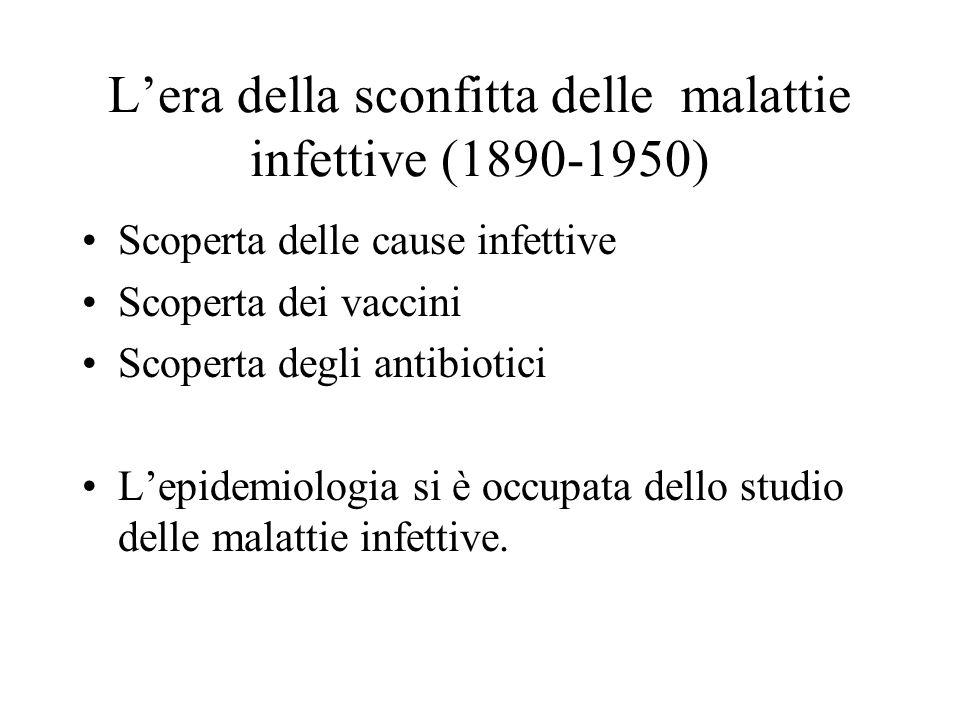 Lera della sconfitta delle malattie infettive (1890-1950) Scoperta delle cause infettive Scoperta dei vaccini Scoperta degli antibiotici Lepidemiologi