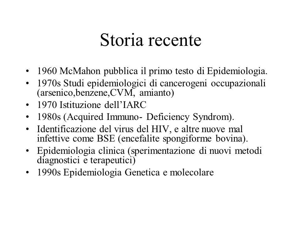 1960 McMahon pubblica il primo testo di Epidemiologia. 1970s Studi epidemiologici di cancerogeni occupazionali (arsenico,benzene,CVM, amianto) 1970 Is