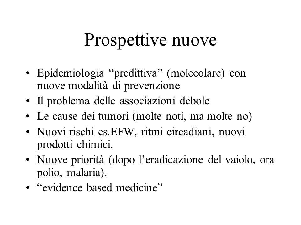 Prospettive nuove Epidemiologia predittiva (molecolare) con nuove modalità di prevenzione Il problema delle associazioni debole Le cause dei tumori (m