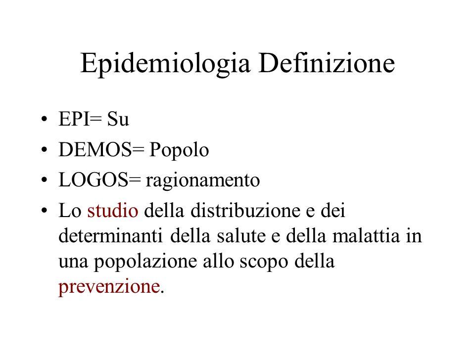 Epidemiologia Definizione EPI= Su DEMOS= Popolo LOGOS= ragionamento Lo studio della distribuzione e dei determinanti della salute e della malattia in