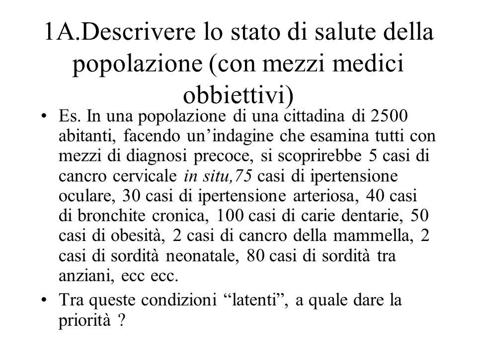 1A.Descrivere lo stato di salute della popolazione (con mezzi medici obbiettivi) Es. In una popolazione di una cittadina di 2500 abitanti, facendo uni