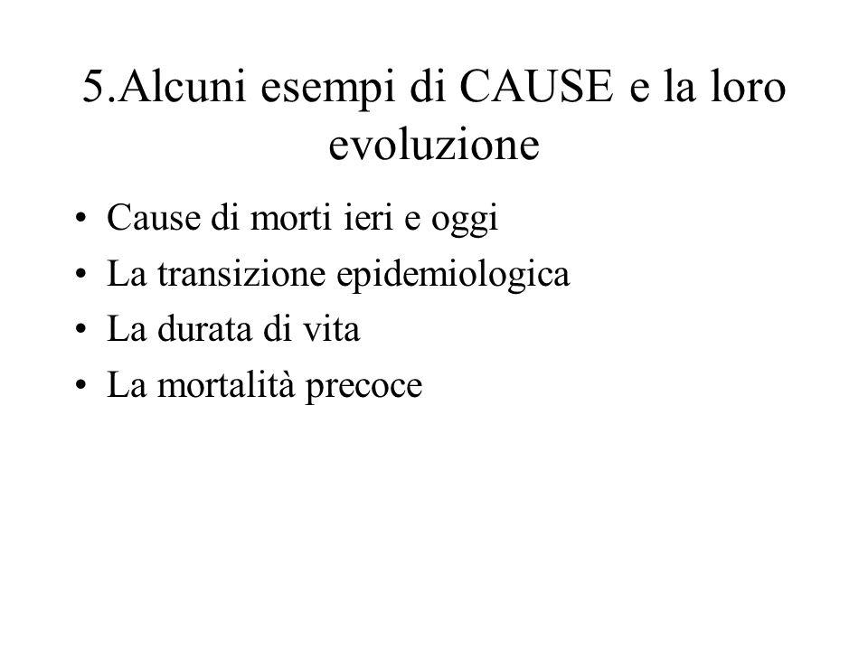 5.Alcuni esempi di CAUSE e la loro evoluzione Cause di morti ieri e oggi La transizione epidemiologica La durata di vita La mortalità precoce