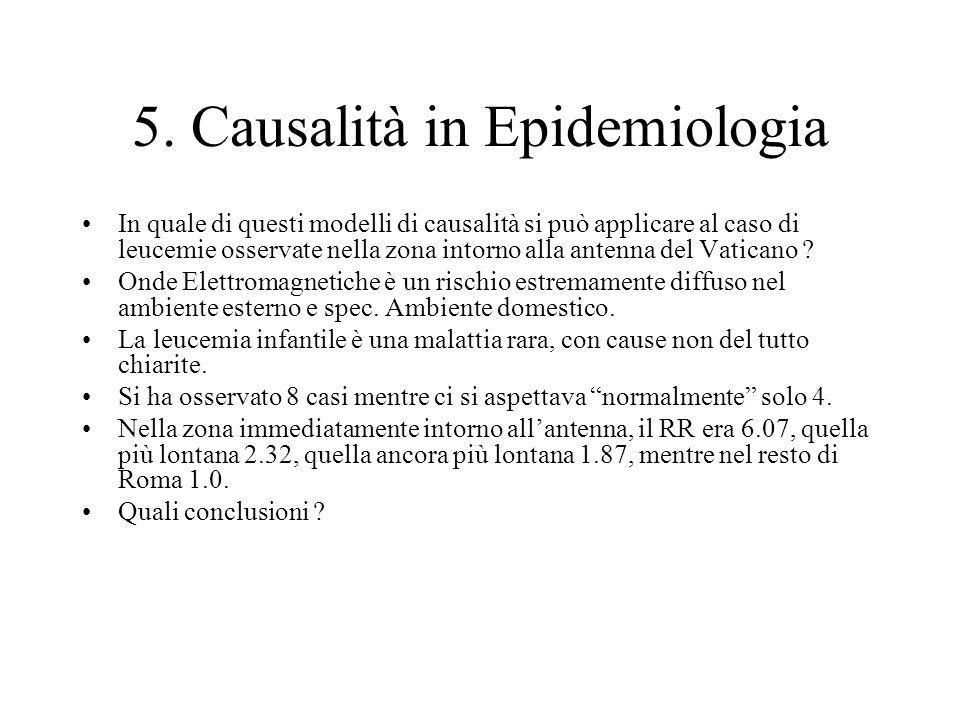 5. Causalità in Epidemiologia In quale di questi modelli di causalità si può applicare al caso di leucemie osservate nella zona intorno alla antenna d