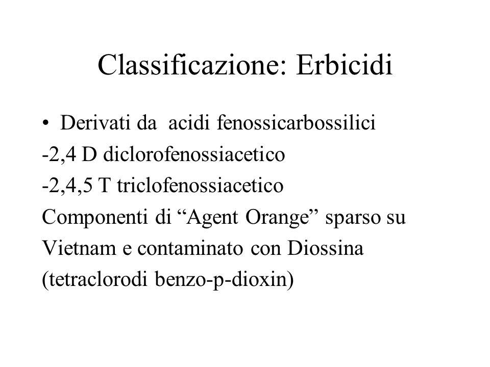 Classificazione: Erbicidi Derivati da acidi fenossicarbossilici -2,4 D diclorofenossiacetico -2,4,5 T triclofenossiacetico Componenti di Agent Orange
