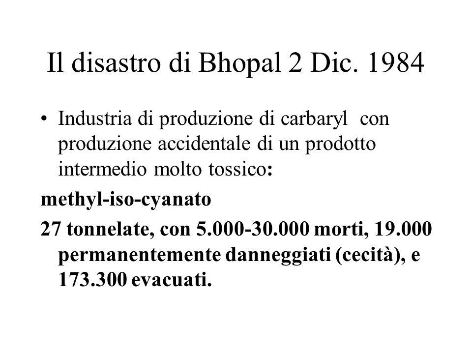 Il disastro di Bhopal 2 Dic. 1984 Industria di produzione di carbaryl con produzione accidentale di un prodotto intermedio molto tossico: methyl-iso-c