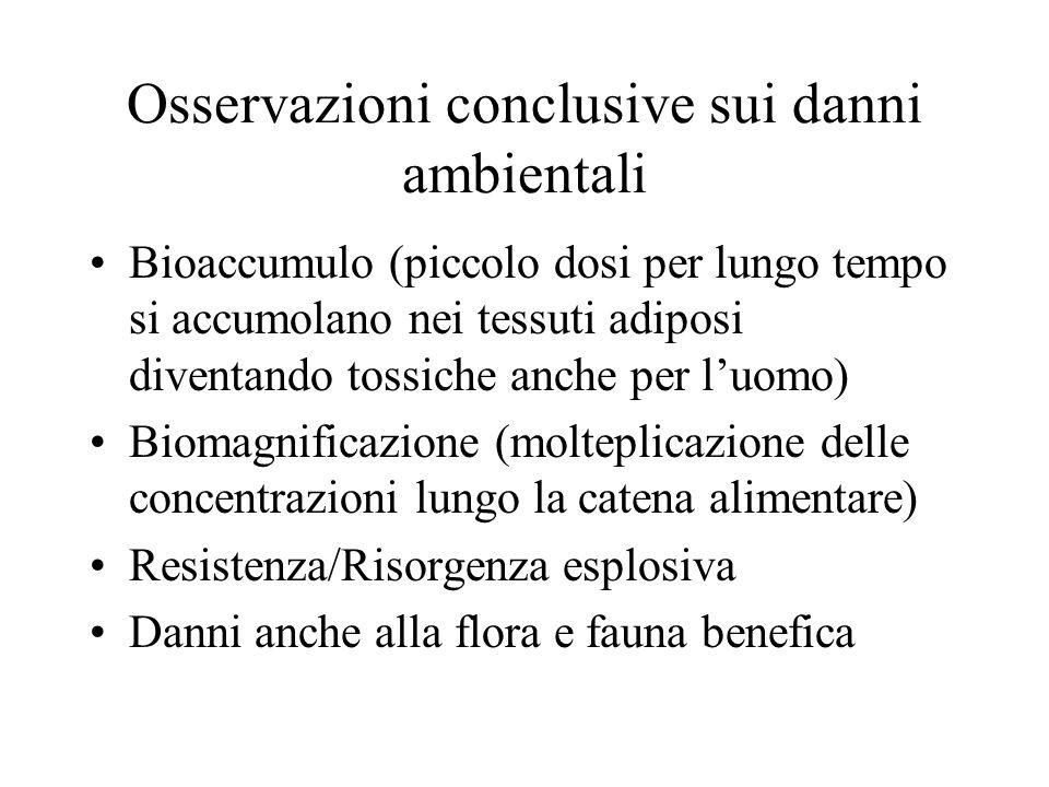 Osservazioni conclusive sui danni ambientali Bioaccumulo (piccolo dosi per lungo tempo si accumolano nei tessuti adiposi diventando tossiche anche per