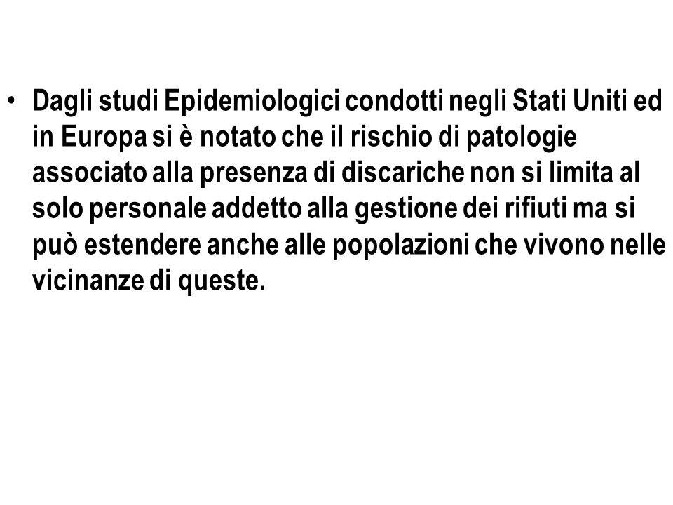 Dagli studi Epidemiologici condotti negli Stati Uniti ed in Europa si è notato che il rischio di patologie associato alla presenza di discariche non s