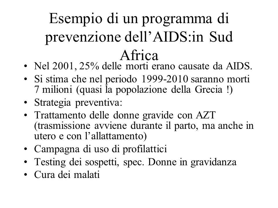 Esempio di un programma di prevenzione dellAIDS:in Sud Africa Nel 2001, 25% delle morti erano causate da AIDS. Si stima che nel periodo 1999-2010 sara