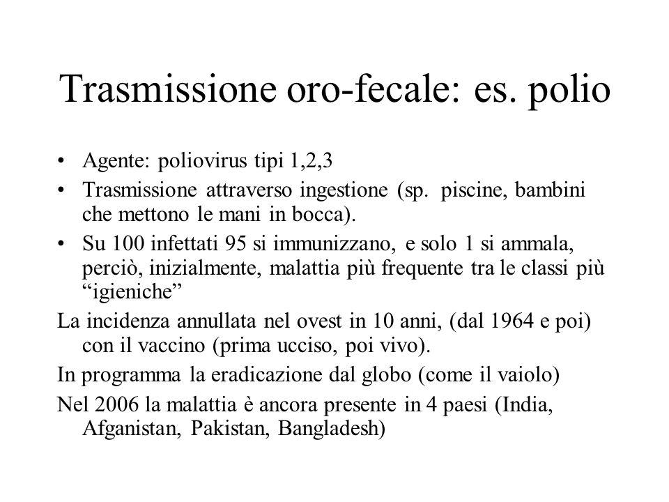 Trasmissione oro-fecale: es. polio Agente: poliovirus tipi 1,2,3 Trasmissione attraverso ingestione (sp. piscine, bambini che mettono le mani in bocca