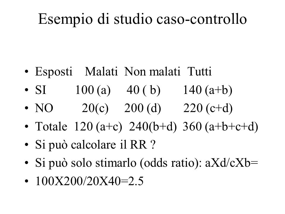 Esempio di studio caso-controllo Esposti Malati Non malati Tutti SI 100 (a) 40 ( b) 140 (a+b) NO 20(c) 200 (d) 220 (c+d) Totale 120 (a+c) 240(b+d) 360