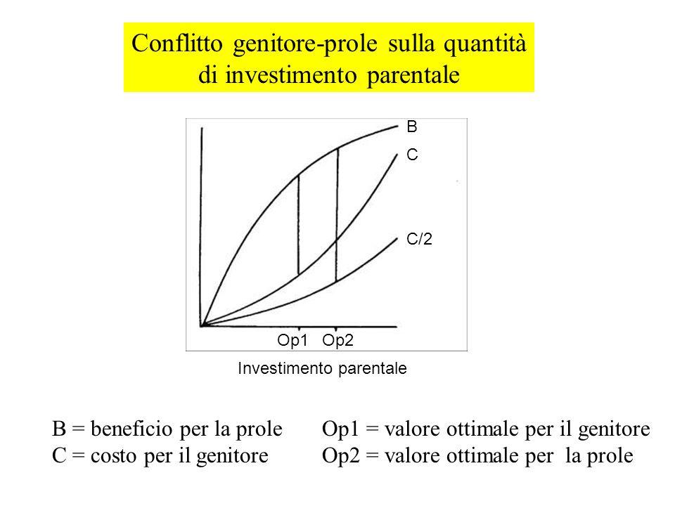 Investimento parentale B = beneficio per la prole C = costo per il genitore Op1 = valore ottimale per il genitore Op2 = valore ottimale per la prole C