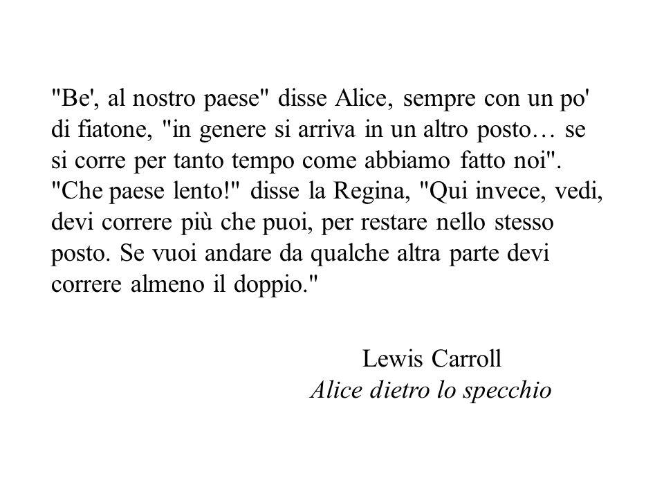 Be , al nostro paese disse Alice, sempre con un po di fiatone, in genere si arriva in un altro posto… se si corre per tanto tempo come abbiamo fatto noi .