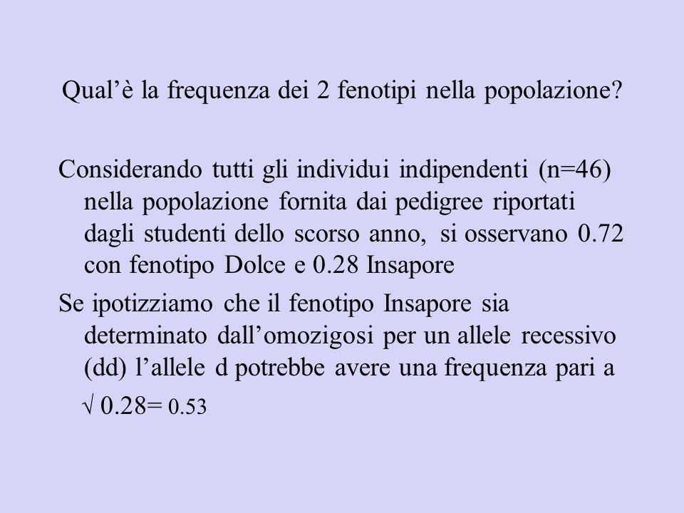 Qualè la frequenza dei 2 fenotipi nella popolazione? Considerando tutti gli individui indipendenti (n=46) nella popolazione fornita dai pedigree ripor