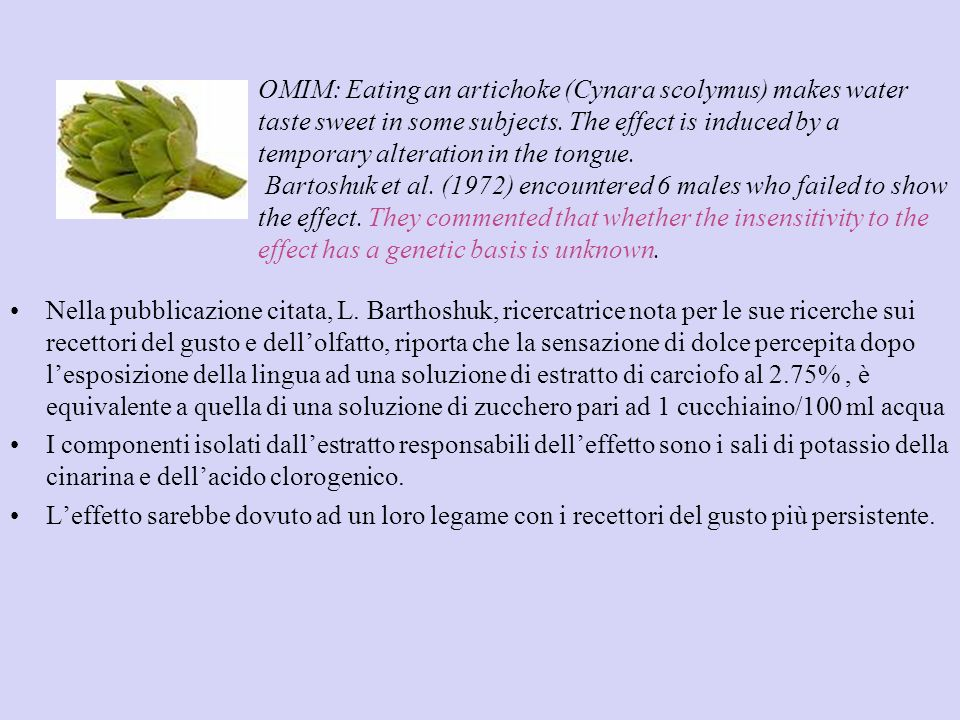 OMIM: Eating an artichoke (Cynara scolymus) makes water taste sweet in some subjects.