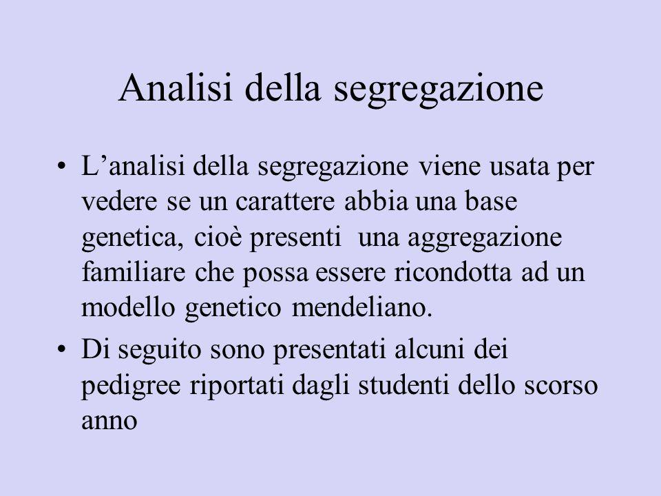 Analisi della segregazione Lanalisi della segregazione viene usata per vedere se un carattere abbia una base genetica, cioè presenti una aggregazione