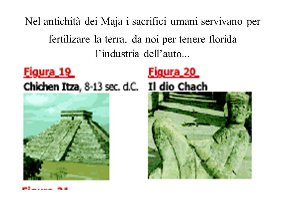 Nel antichità dei Maja i sacrifici umani servivano per fertilizare la terra, da noi per tenere florida lindustria dellauto...