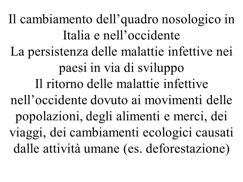 Il cambiamento dellquadro nosologico in Italia e nelloccidente La persistenza delle malattie infettive nei paesi in via di sviluppo Il ritorno delle m