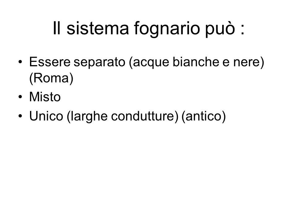 Il sistema fognario può : Essere separato (acque bianche e nere) (Roma) Misto Unico (larghe condutture) (antico)