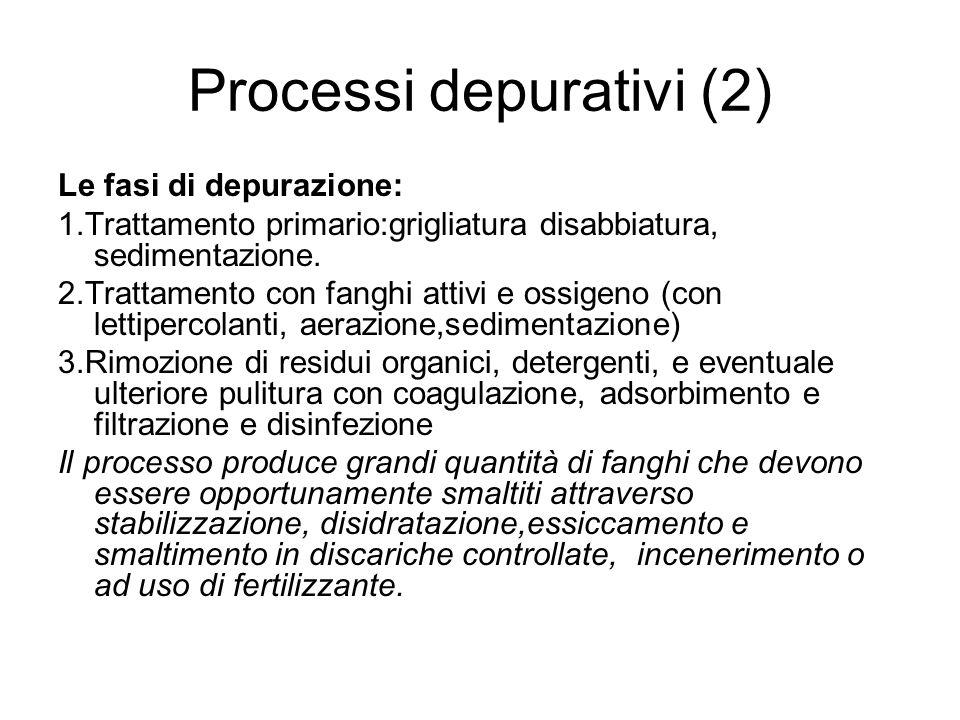 Processi depurativi (2) Le fasi di depurazione: 1.Trattamento primario:grigliatura disabbiatura, sedimentazione. 2.Trattamento con fanghi attivi e oss