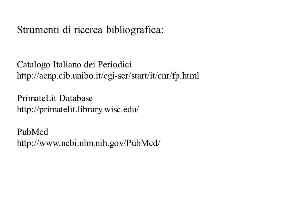 Strumenti di ricerca bibliografica: Catalogo Italiano dei Periodici http://acnp.cib.unibo.it/cgi-ser/start/it/cnr/fp.html PrimateLit Database http://p