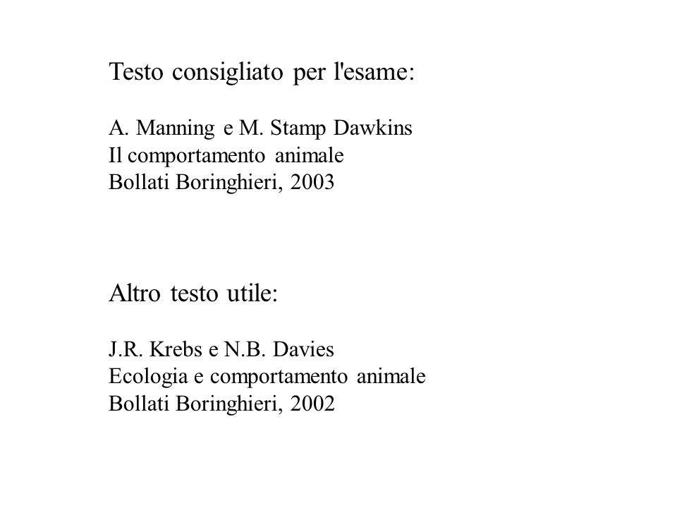 Testo consigliato per l'esame: A. Manning e M. Stamp Dawkins Il comportamento animale Bollati Boringhieri, 2003 Altro testo utile: J.R. Krebs e N.B. D