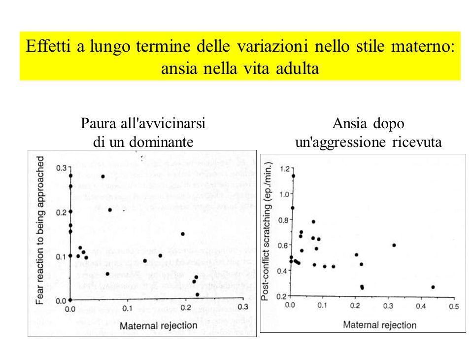 Effetti a lungo termine delle variazioni nello stile materno: ansia nella vita adulta Paura all'avvicinarsi di un dominante Ansia dopo un'aggressione