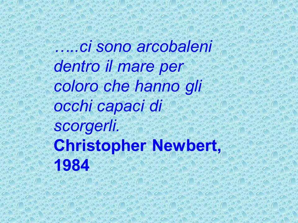 …..ci sono arcobaleni dentro il mare per coloro che hanno gli occhi capaci di scorgerli. Christopher Newbert, 1984