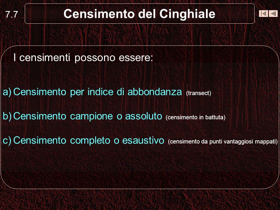 Censimento del Cinghiale Censimento campione o assoluto (es.