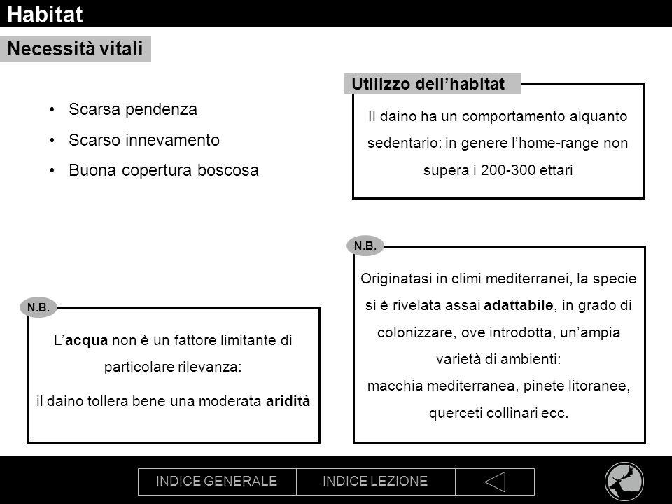 INDICE GENERALEINDICE LEZIONE Habitat Il daino ha un comportamento alquanto sedentario: in genere lhome-range non supera i 200-300 ettari Scarsa pende