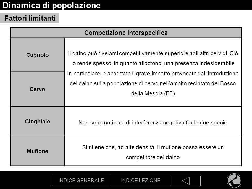 INDICE GENERALEINDICE LEZIONE Dinamica di popolazione Competizione interspecifica Capriolo Il daino può rivelarsi competitivamente superiore agli altr