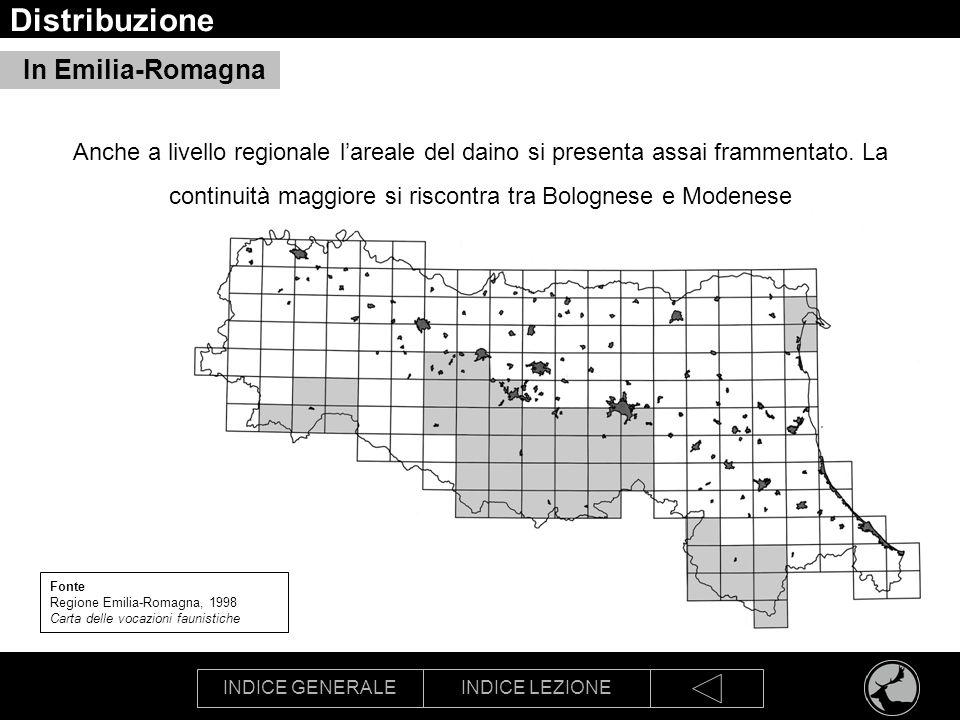 INDICE GENERALEINDICE LEZIONE Distribuzione In Emilia-Romagna Fonte Regione Emilia-Romagna, 1998 Carta delle vocazioni faunistiche Anche a livello reg