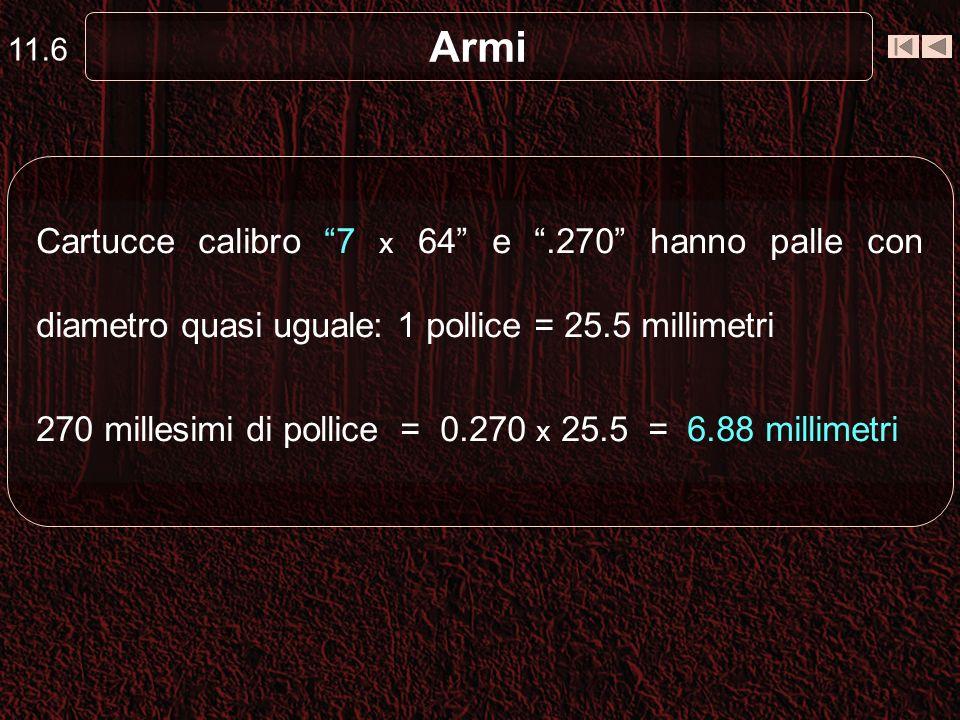 Armi Cartucce calibro 7 x 64 e.270 hanno palle con diametro quasi uguale: 1 pollice = 25.5 millimetri 270 millesimi di pollice = 0.270 x 25.5 = 6.88 millimetri 11.6