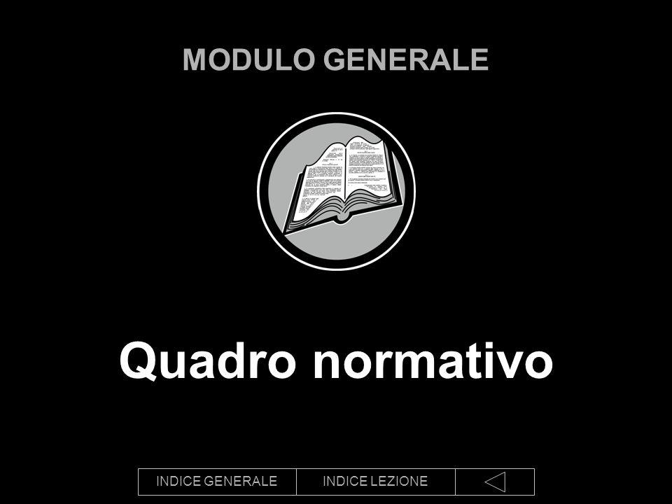 INDICE GENERALEINDICE LEZIONE Quadro normativo MODULO GENERALE