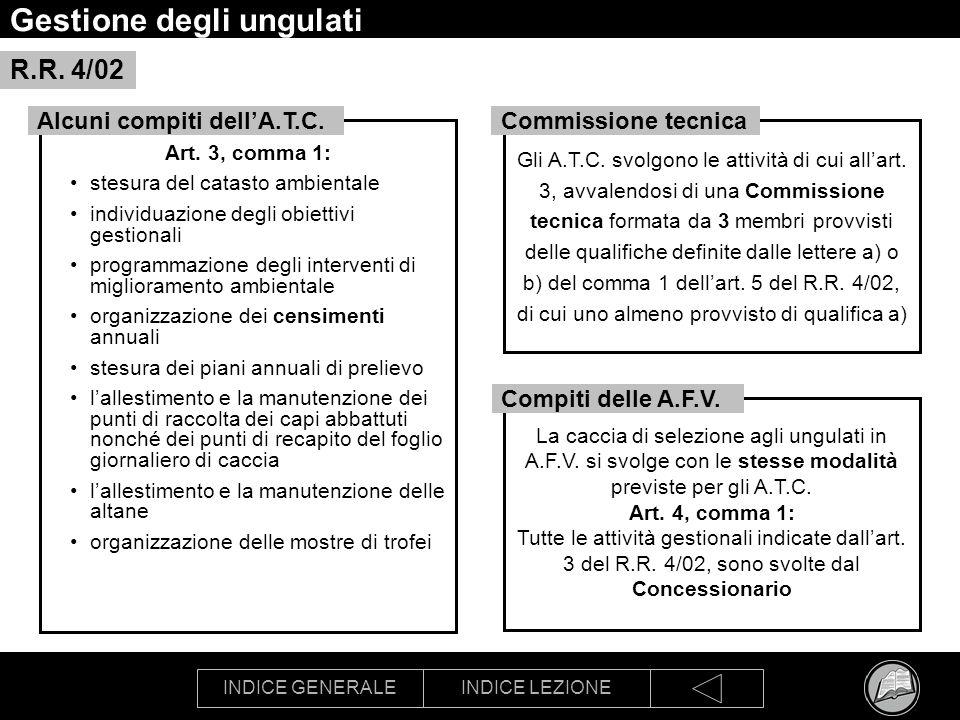 INDICE GENERALEINDICE LEZIONE Gestione degli ungulati Art. 3, comma 1: stesura del catasto ambientale individuazione degli obiettivi gestionali progra
