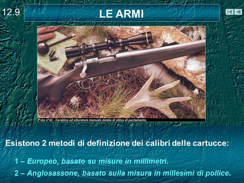 Esistono 2 metodi di definizione dei calibri delle cartucce: 1 – Europeo, basato su misure in millimetri. 2 – Anglosassone, basato sulla misura in mil
