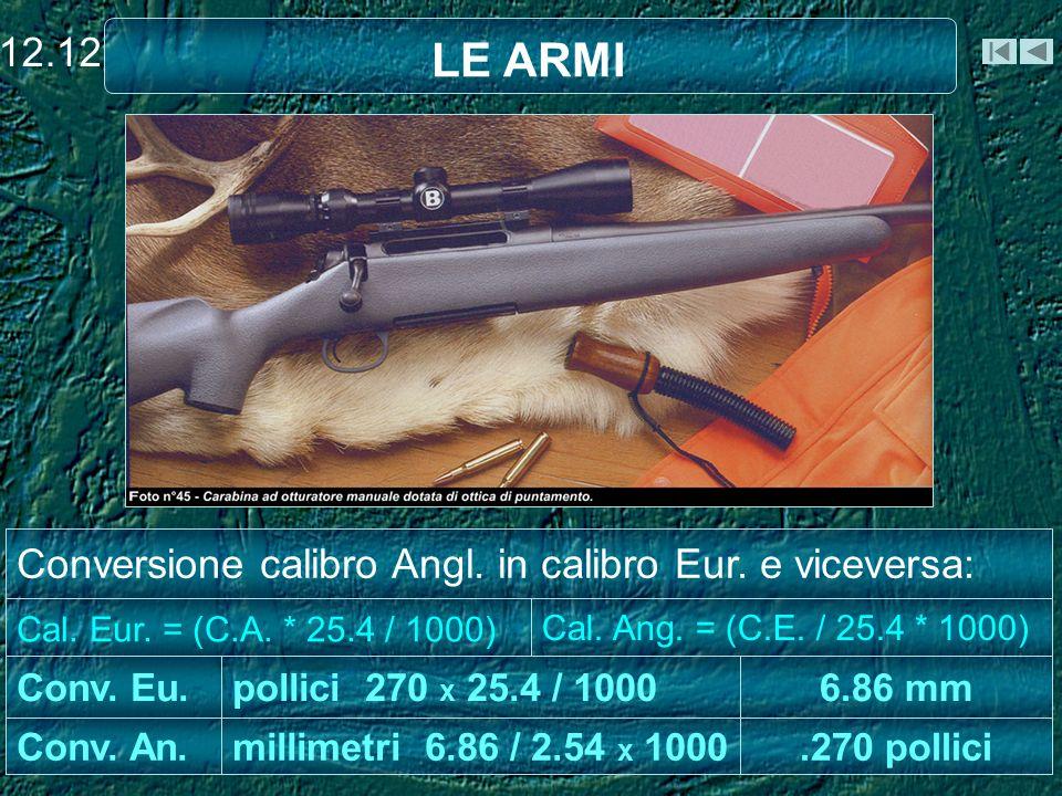Cal.Ang. = (C.E. / 25.4 * 1000).270 pollici 6.86 mm millimetri 6.86 / 2.54 x 1000Conv.